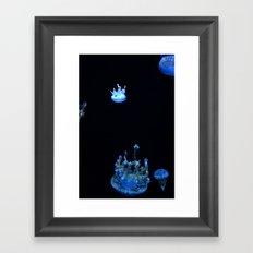 Tiny Blue Jellyfish Framed Art Print