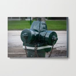 Tilting Green Waterous Pacer Fire Hydrant Crooked Fire Plug Metal Print