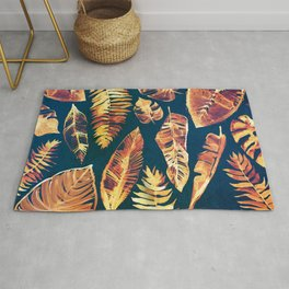 Bright yellow and orange leaves - Jungle Design in Turquoise Green Rug