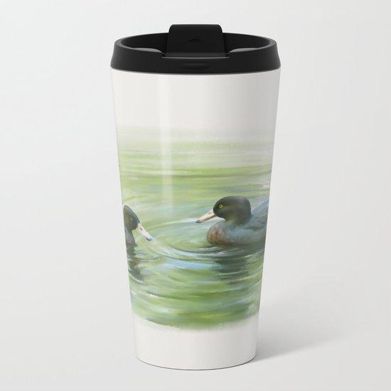 Blue Ducks in pond Metal Travel Mug