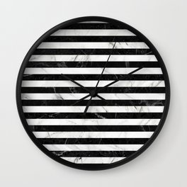 Marble Stripes Pattern - Black and White Wall Clock