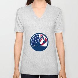 American Excavator USA Flag Icon Unisex V-Neck