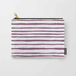 Magenta pink watercolor hand painted stripes Carry-All Pouch