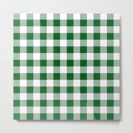 Hunter Green Checker Gingham Plaid Metal Print