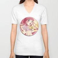 princess bubblegum V-neck T-shirts featuring Princess Bubblegum by Elisa Ellie Serio