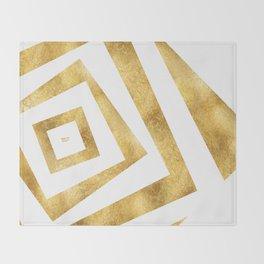 ART DECO VERTIGO WHITE AND GOLD #minimal #art #design #kirovair #buyart #decor #home Throw Blanket