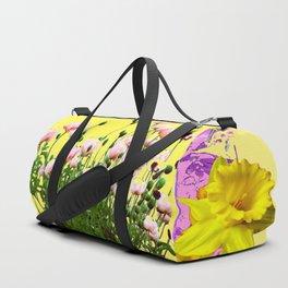 YELLOW DAFFODILS FLOWER GARDEN & PINK POPPIES DESIGN Duffle Bag