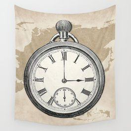 Vintage Pocket Watch on Monochrome World Map Wall Tapestry