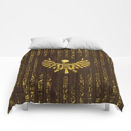 Golden Egyptian Horus Falcon and hieroglyphics on wood Comforters