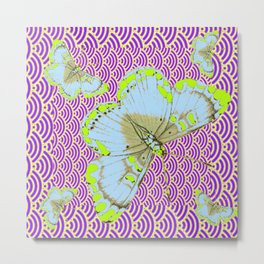 CHARTREUSE-WHITE EXOTIC BUTTERFLY Metal Print