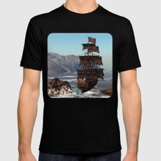 Pirate Ship Mens Fitted Tee Black MEDIUM