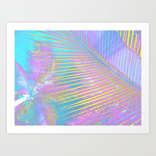 Pastel Palm tree leaves Art Print