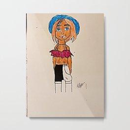 Sketch Girl Metal Print