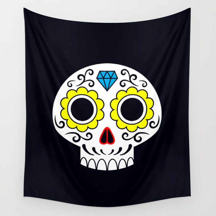 Sugar skull for a cake Wall Tapestry