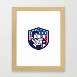 American Patriot Holding House Flag Crest Retro Framed Art Print