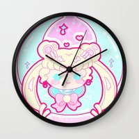 sailormoon Wall Clocks featuring Marshmallow Sailormoon by Candy Castle