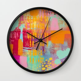 another day another party - abstract painting Wall Clock