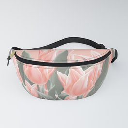 Stylish Peach Tulips Flowers Watercolor Illustration, coral pink color background. Boho style Fanny Pack