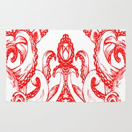 Octopus - Red and White Rug