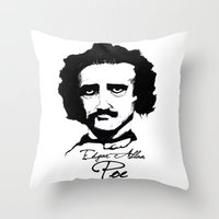 edgar allan poe Throw Pillows featuring Edgar Allan Poe  by SINPE