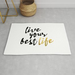 Live Your Best Life Typography Rug