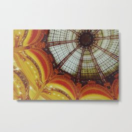 Stained glass roof of the Lafayette Galleries in Paris Metal Print