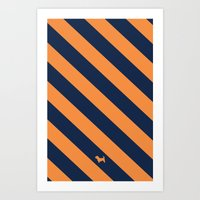 Preppy & Classy, Navy Blue / Orange Striped Art Print
