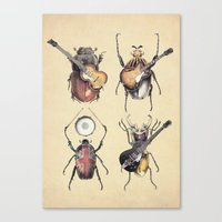 retro Canvas Prints featuring Meet the Beetles by Eric Fan