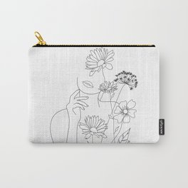 Minimal Line Art Woman with Flowers III Carry-All Pouch