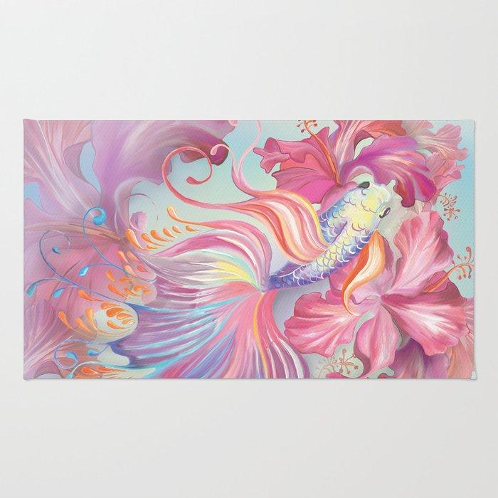 Pastel Fish Drawn Rug