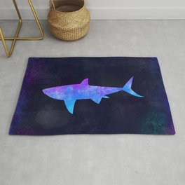 SHARK IN SPACE // Animal Graphic Art // Watercolor Canvas Painting // Modern Minimal Cute Rug