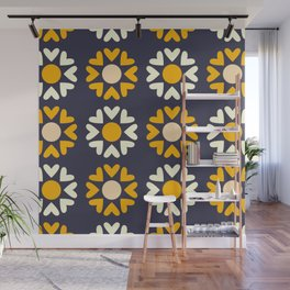 Blue & Yellow Heart Flowers Wall Mural