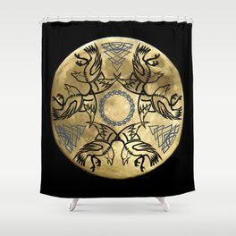 Huginn & Muninn triskele Shower Curtain