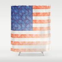 america Shower Curtains featuring AMERICA by Smorgashborg