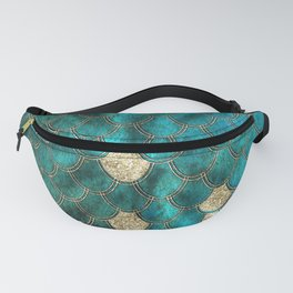 Multicolor Aqua And Gold Mermaid Scales -  Beautiful Abstract Pattern Fanny Pack