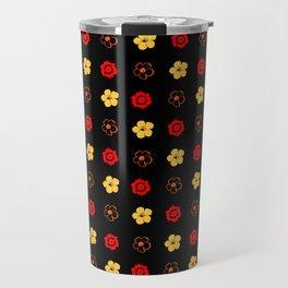 Red & Gold Flower Pattern Travel Mug