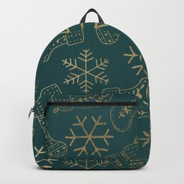 Forest green and faux gold foil Christmas snowflakes stockings Backpack