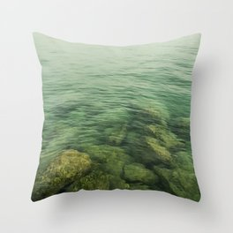Rock, stones, pebbles photographed under the water surface Throw Pillow