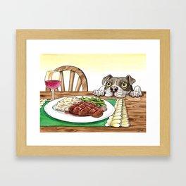A Dog's Potential Steak Dinner Framed Art Print