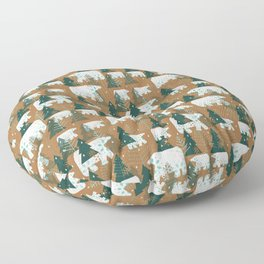 Polar Bears in the Forest - Dark Green Floor Pillow