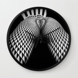 0364-JAL Nude Geometric Erotica Black & White Naked Woman Behind Below Bum Butt Ass Wall Clock