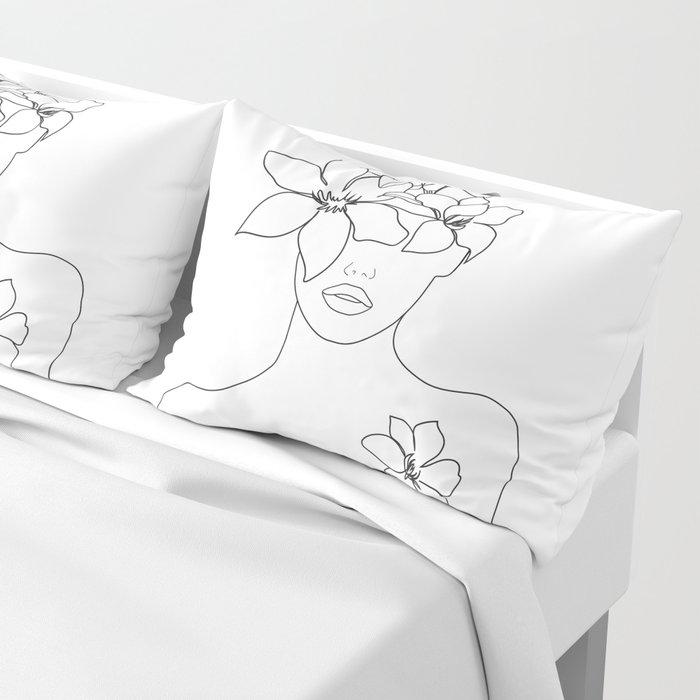 Minimal Line Art Woman with Flowers IV Pillow Sham