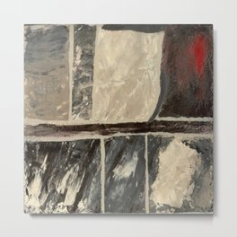 Textured Marble Popular Painterly Abstract Pattern - Black White Gray Red Metal Print