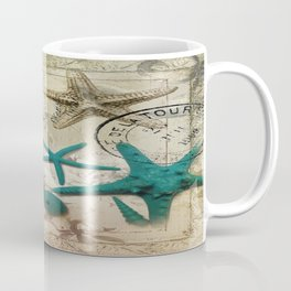 french botanical art seahorse teal green starfish Coffee Mug