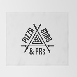 Pizza, Bars and PRs Fitness Triangle v2 Throw Blanket