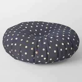 Navy Gold Polka Dots Pattern Floor Pillow