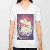 the last unicorn V-neck T-shirts featuring The Last Unicorn by Lara Pratt