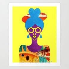 Girl with Sea Monster Shirt Art Print