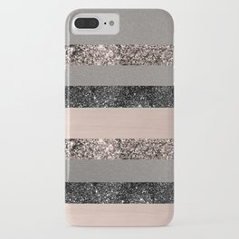 Blush Glitter Glam Stripes #1 #shiny #decor #art #society6 iPhone Case