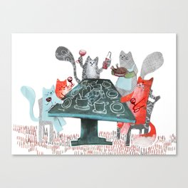 Cat Dinner Party Canvas Print